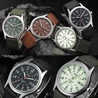 Men's Military Army Date Sport Round Watch Canvas Band Analog Quartz Wristwatch