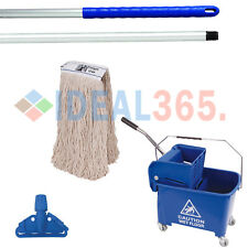 Blue Kentucky Mop Bucket Wringer, Mop Handle Combo Set Traditional Mopping Floor