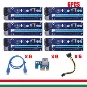 6PCS 60cm PCI-E Riser Card PCI-E 1x a 16x USB 3.0 cavo dati Bitcoin BTC Mining