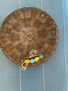 """Antique sewing basket with lid brown Victorian wicker Plus Top Decor Small 6"""""""
