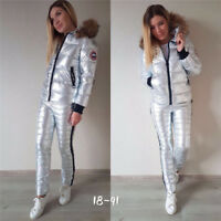 Winter Warm Ski Snow Suit Women Bling Hooded Clothing Waterproof Jacket M-XXL