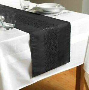 New Embroidered taffeta Table Runners Red, Black, Gold Sequin Table Runners