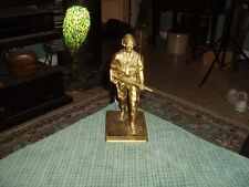 US Military Soldier Plastic Resin Figurine W/ Night Vision Gold/Blk Shabby Paint