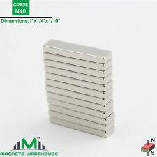 "12-count neodymium N40 NdFeb block magnets 1x 1/4 x 1/10"" (true N40)"