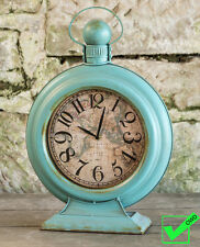 "Vintage Inspired Large TEAL MAP CLOCK beach table clock mantel- 19.5"" Tall!"