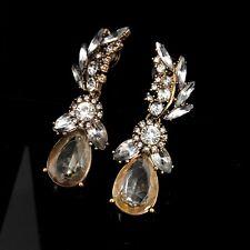 earrings Pendant Golden Clip on Drop Sheet Retro Original Marriage A6