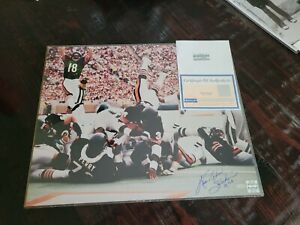 Walter Payton Autograph Photo 16x20 Cert, Diving Into The End Zone