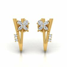 0.95 TCW SI Clarity HI Color Pear & Marquise Diamond Stud Earrings 14k Gold