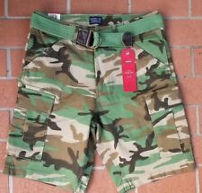 LEVI'S ARMY GREEN CAMO FORT CARGO SHORTS WITH BELT LOOSE MEN'S SIZE 31