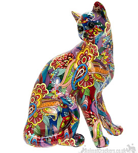 Large 29cm GROOVY ART bright colour Sitting Cat ornament figure cat lover gift