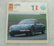 Alpine Renault A110 1960s classic sports rally car photo picture card VGC