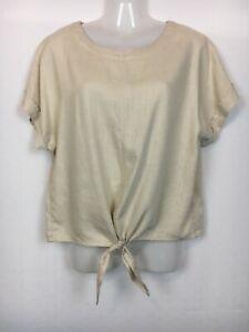 Jeanswest 12 top tie front short sleeve linen blend casual summer beach medium