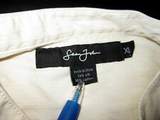 Sean John Silk Blend Pale Yellow Mandarain Collar Long Sleeve Shirt Size XL