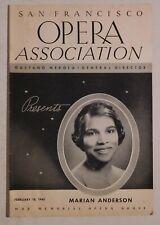 Marian Anderson rare concert program Sf War Memorial 1940