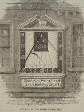 Londres le Soleil Cadran dans le temple Original Victorian Print 1878