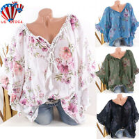 Summer Women Batwing Sleeve Floral Tops T Shirt Lady Casual Top Blouse Plus Size