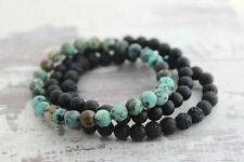 Personalized Mens Black Onyx Lava Stone Essential Oil Diffuser Beaded Bracelets