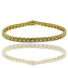 14K Gold Plated 6 CTW Round Cubic Zirconia Tennis Bracelet with stone on edges