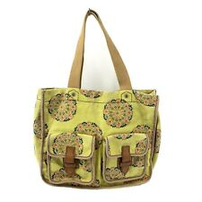 Fossil Large Green Floral Canvas Tote Carry All Hand Bag Womens Purse