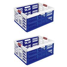 2xStabile Profi Klappbox 54x37x28 Einkaufskiste klappbar Soft-Griffe Blau/Weiß