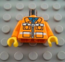 LEGO Orange Town Construction Minifigure Minifig Torso with Safety Stripes