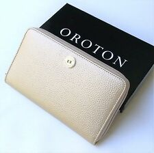 NEW OROTON Wallet Melanie Large Zip Around Clutch Pebble Leather Gold Metallic