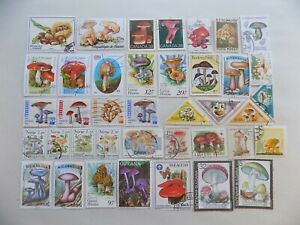 World Wide Topical Coll'n of used MUSHROOM stamps off paper -9-22-L