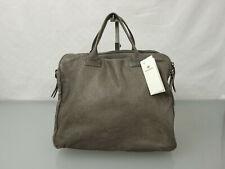 REHARD Designer Leder Handtasche Tasche Leather Bag Lochmuster Braun Khaki