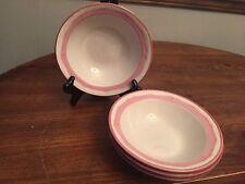 "Gibson China ""ROSE PETAL""  Pink Rim ~ Set of 4 ~ Soup Bowls ~ 7"""