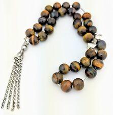 Tasbih Worry Beads Komboloi Tiger Eye 10mm Brushed Silver fittings JCE11-1