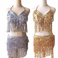 2020 Belly Dance Costume Bra+Hip Scarf Set Sequined Fringe Bollywood Costume