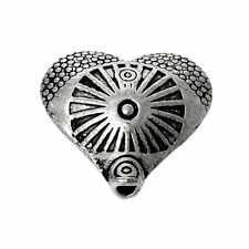 Sexy Sparkles 10 Pcs Heart Charm Beads Antique Silver Circle Ring Carved Pattern