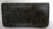 ROSE EMBOSSED GREY PU LEATHER TRAVEL WALLET PURSE CLUTCH HANDBAG WITH STRAP BN
