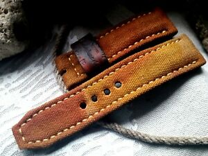 24mm, canvas and AMMO leather, Handmade watch strap