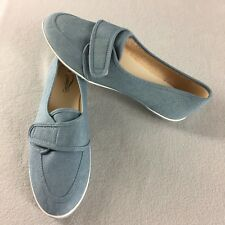 Vintage Grasshoppers Shoes Blue Casual Canvas Slip On Hook and Loop Strap Sz 9M