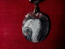 Skye Terrier hand painted on Mother of Pearl pendant/bead/necklace