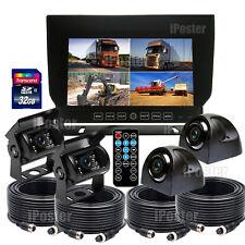 "7"" Quad Monitor DVR Recorder 4x Rear View CCD Camera + 32GB Truck Trailer System"