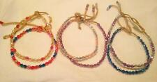 12 LEATHER ANKLETS WITH MIXED COLORED BEADS #382 ankle bracelets beaded anklet