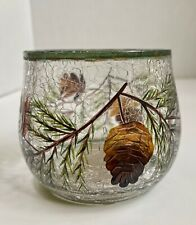 Yankee Candle Votive Tealight  Small Jar Holder Crackle Glass Pine Cone Winter