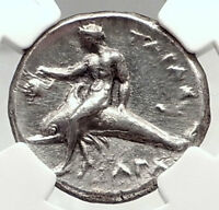 TARENTUM Taras in CALABRIA 281BC Authentic Ancient Silver Greek Coin NGC i72343