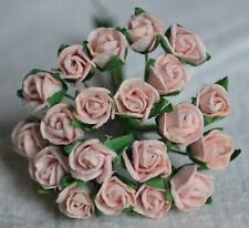48 PALE PINK SEMI-OPEN ROSE BUDS Mulberry Paper Flowers for wedding miniature