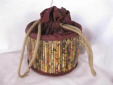 Unique Vintage Handmade funky Drawstring Purse Rolled Paper/Magazine Ads