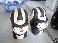 ODD Set of Vintage Skunk Sat and Pepper Shakers LOOK
