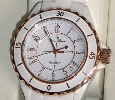 Lucien Piccard Ceramic & IP Rose Gold Plated Stainless Steel NWT  CHIC WOW!