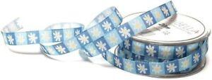 POSTEN !! 3 Rollen Schleifenband á 20m x 12mm Blumen Blümchen Blau Hellblau 2316