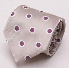 NWT $195 ERMENEGILDO ZEGNA Champagne-Plum Dot Pattern Silk Tie Necktie