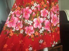Vtg 60s 70s Ui KaiMai Hawaiian Rockabilly  Day A-Line Dress  Floral XL Barkcloth