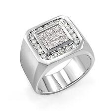 1.30 CT Men's Princess Round F-G VS1 Invisible Set Diamond Ring 14K Gold White