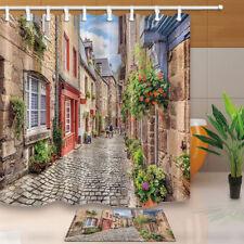 Wooden Door Window Stone Walls Street Waterproof Fabric Shower Curtain & 12 Hook