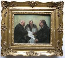 Paul Dahlen (1881-1954) Drei Männer am Biertisch Öl auf Platte signiert um 1920